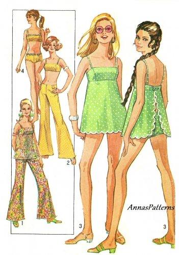 60s Swimsuit Vintage Sewing Pattern 2 Piece Sz 12 Bikini Bra Apron Hip Hugger Pant 8199