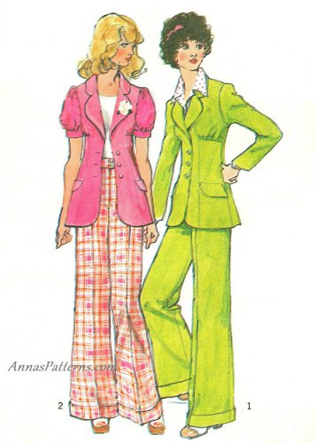 70s Pantsuit Sewing Pattern 7 Junior Bell Bottom Pant Jacket Long Short Sleeve 5642