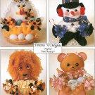 Treat Basket Sewing Pattern Christmas Santa Snowman Dog Hen Teddy Bear Lion 7641