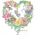 Floral Heart Wreath Stamped Cross Stitch Kit Bucilla Large 16 Inch Square