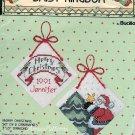 Daisy Kingdom Merry Christmas Cross Stitch Ornaments Kit Santa Tree Set 2 Bucilla
