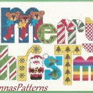Dimensions Merry Christmas Patchwork Cross Stitch Kit Vtg 1983 16 x 8 Sealed
