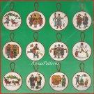 Charles Wysocki Christmas Ornaments Cross Stitch Kit Yuletide Village Snowman Caroler Sleigh Skate