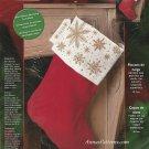 Bucilla Snowflakes Christmas Stocking Kit Cross Stitch 18 Inch Red Velvet