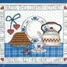 Bless This Country Kitchen Cross Stitch Kit Janlynn Teapot Pie Hearts 14 x 11