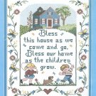 Family Sampler Stamped Cross Stitch Kit Bless Our Home Bucilla 11 x 14