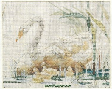 Swan Cygnets  Counted Cross Stitch Kit Nature Cattail 14 x 12 Needle Treasures
