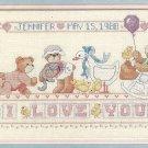 I Love You Birth Record Cross Stitch Kit Dimensions Teddy Bear Baby Stork 18 x 8
