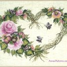 Bucilla Grapevine Heart Wreath Floral Cross Stitch Kit Aida Pink Purple 14 x 11