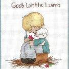 God's Little Lamb Cross Stitch Kit Boy Hugging Aqua Mat 8 x 10 Designs For The Needle