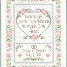 One Heart Wedding Record Cross Stitch Kit Memory Bride Groom Dimensions Sunset 15 x 18
