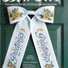 Greetings Bow Tie Cross Stitch Kit Door Wreath Blue Yellow Purple Pansies