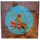 Embroidery Rooster Kit Wood Frame Vintage Azure Red Orange 9 x 9