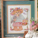 Mrs Teddy Bear Ribbon Embroidery Cross Stitch Kit Hat Rose Cat Bucilla 9 x 12 Aida