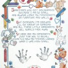 Birth Announcement Cross Stitch Kit Fingerprints Baby Child Teddy Bear Crayons 11 x 14