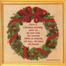 Christmas Wreath Memories Cross Stitch Kit Vintage Creative Circle Cotton Duck 13 x 13