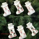 Bucilla Stockingettes Christmas Heirloom Stocking Cross Stitch Ornaments Kit Santa Snowmen Set 6