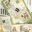 Baby Bedding Sewing Pattern Bee Bear Crib Quilt Blanket Pillow Wall Hanging Bib 5900