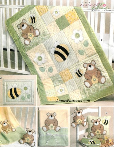 Baby Bedding Sewing Pattern Bee Bear Crib Quilt Blanket Pillow Wall