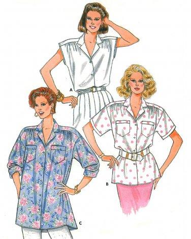 80s Button Front Blouse Top Sewing Pattern 6-14 Kimono Sleeve Oversize Easy Disco Retro 3769