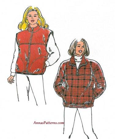 Ski Vest Jacket Sewing Pattern XS-XL Zip Front Pullover Fleece 2638