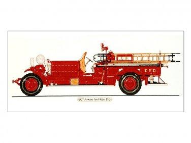 Firetruck Cross Stitch Kit 1927 Ahrens Fox Model JS2 Vintage Design Connection 1994 24 x 8