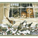Three Bird Watchers Cross Stitch Kit Dimensions Cats Window 1997 Aida 18 x 13
