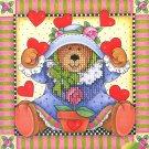 Simplicities Teddy Bear Mini Cross Stitch Kit Janlynn Hearts Plant Printed Mat