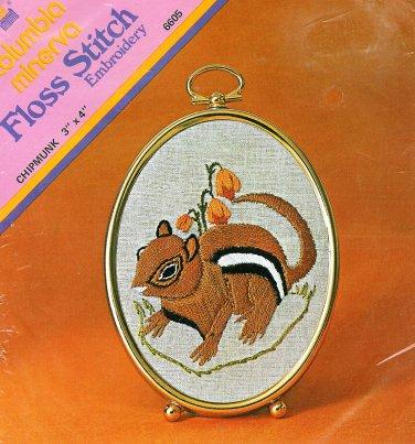 Chipmunk Stamped Embroidery Kit Vintage 1974 Columbia Minerva Sealed