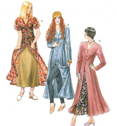 Dress Overlay Slip Sewing Pattern 10-14 Goth Hippie Mod Ankle Length 6740