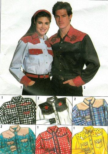 Western Shirt Sewing Pattern XS XL Unisex Cowboy Cowgirl 9689