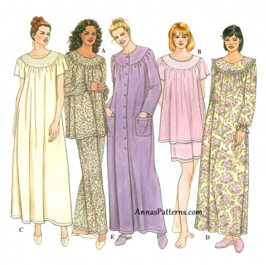 Misses Pajama Sewing Pattern 6-16 Robe Gown Top Pant Short Long Sleeve 9012