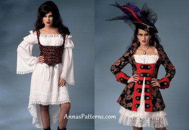 Misses Womens Pirate Costume Sewing Pattern 6-14 Dress Jacket Corset 6114