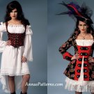 Misses Womens Pirate Costume Sewing Pattern Plus 14-22 Dress Jacket Corset 6114