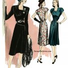 Retro 40s Dress Sewing Pattern 14-22 A-line Square Neck Shoulder Yoke  5281