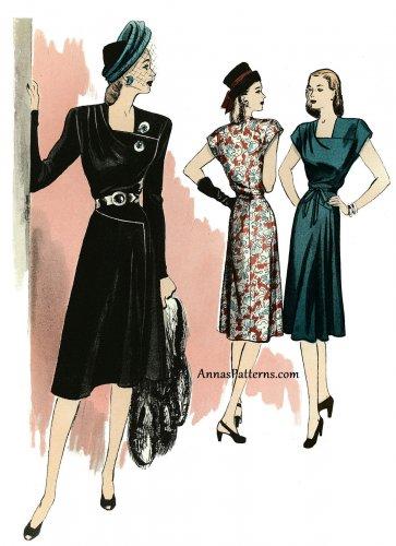 Retro 40s Dress Sewing Pattern 14-22 A-line Square Neck Shoulder Yoke  5281