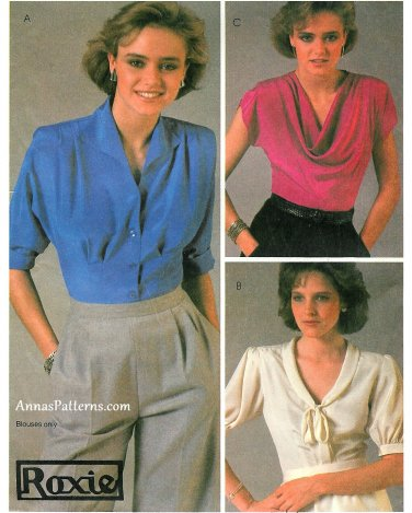 80s Blouse Sewing Pattern 14 Disco Cowl Neck Button Short Sleeve Fitted Dolman Sleeve 8707