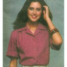 70s Short Sleeve Blouse Shirt Sewing Pattern 12-16 Easy Button Front Collar Cuff  8909