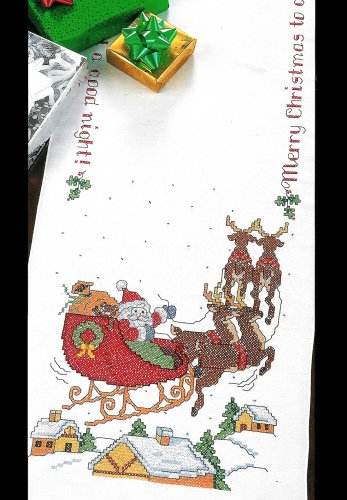 Over The Rooftop Table Runner Cross Stitch Kit Santa Sleigh Merry Christmas Bucilla