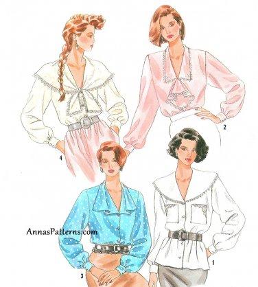 Dress Blouse Sewing Pattern 10-18 Wide Collar Jabot Tie Ruffle Cascade 9922