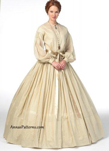 1800s Dress Sewing Pattern 8-16 Americana Costume Petticoat Southern Belle Full Skirt 5831