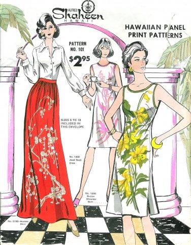 Alfred Shaheen Sewing Pattern 6-18 Hawaiian Shift Dress Button Shoulder Maxi Skirt 101