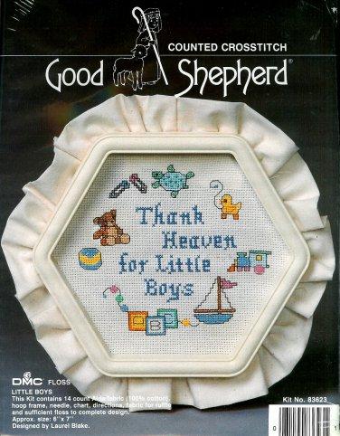 Thank Heaven For Little Boys Cross Stitch Kit Good Shepherd Frame Aida 6 x 7