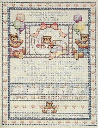 Dimensions Cross Stitch Kit Bears Bunnies Birth Record Teddy Bear Baby Hugs Newborn