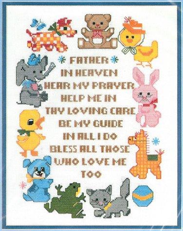Heavenly Prayer Cross Stitch Kit Child Nursery Animals Bucilla Vintage 11 x 14 Aida