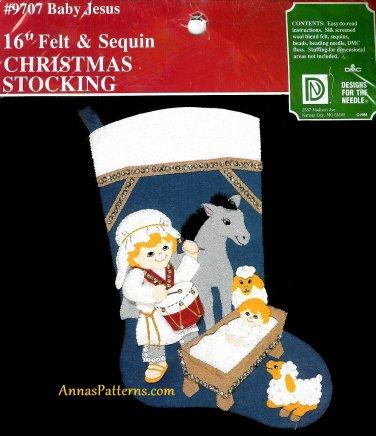 Vintage Baby Jesus Manger Christmas Stocking Kit Drummer Boy Donkey Sheep Embroidery Sequins