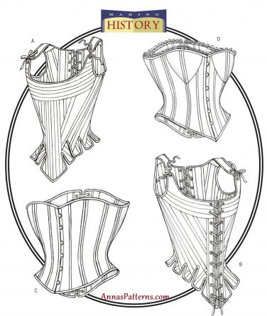 Lined Corset Sewing Pattern 12-16 Sexy Fitted Button Front Back Lacing 4254