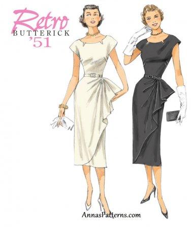 Retro 50s Dress Sewing Pattern 6-14 Slim Fitted Skirt Sash 5880