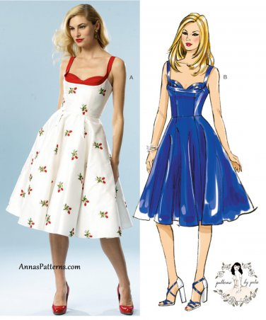 Swing Dress Sewing Pattern 12-20 Plus Sundress Full Skirt 5882