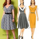 Knee Length Dress Sewing Pattern 8-16 Shawl Collar Princess Seams Flared Skirt Easy 5930